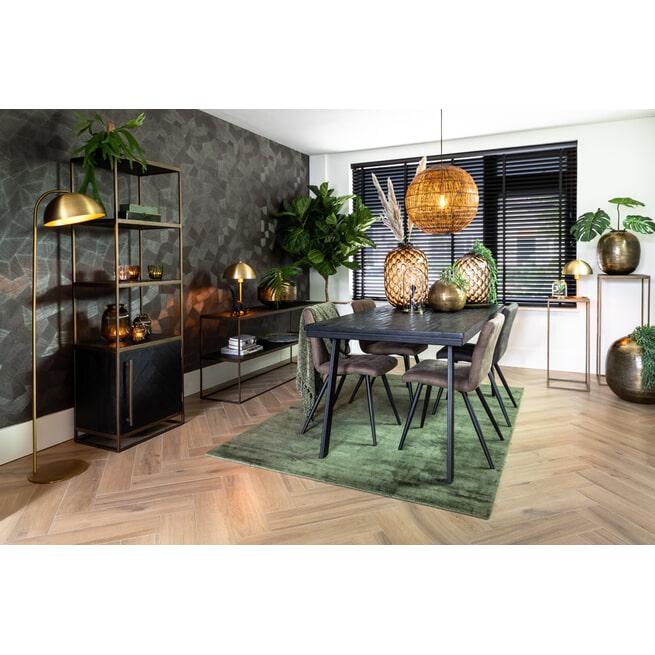 Light & Living Sidetable 'Chisa' 150cm, kleur Zwart/Antiek Brons