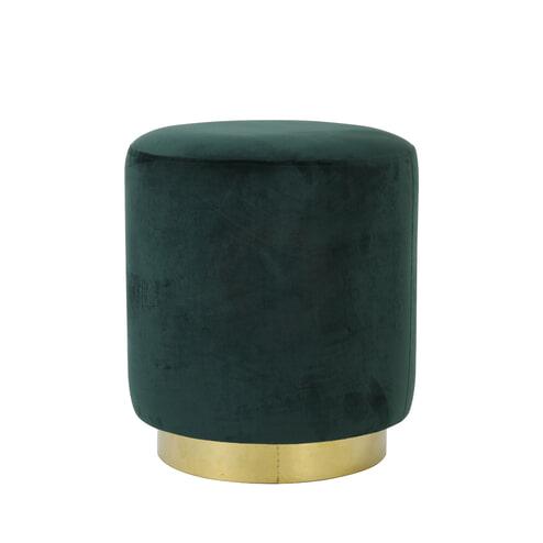 Light & Living Poef 'Nadien', velvet donker groen+goud