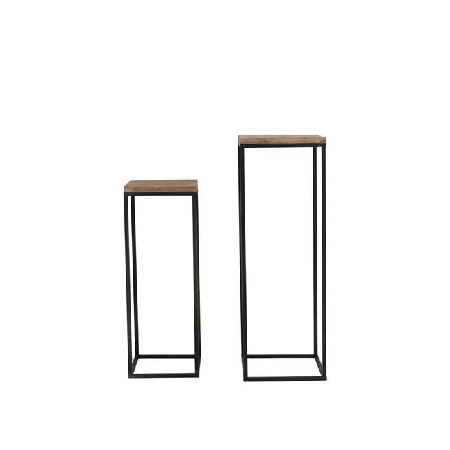 Light & Living Zuilen / bijzettafels 'Yarula' Set van 2 stuks, zwart+hout