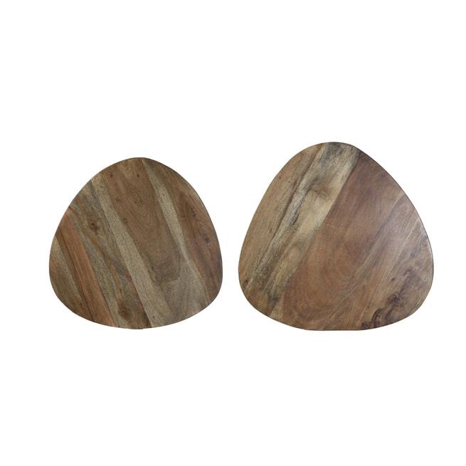 Light & Living Bijzettafel 'Chasey' Set van 2 stuks 45x45x35+, hout bruin-zwart