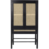Light & Living Vitrinekast 'Nipas' 90cm, hout zwart-webbing naturel, kleur Zwart / Naturel