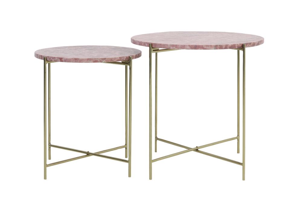 Light & Living Bijzettafel 'Delon' Set van 2 stuks, marmer roze-goud Tafels | Bijzettafels kopen