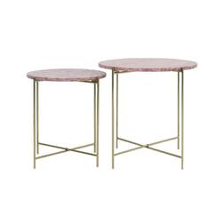 Light & Living Bijzettafel 'Delon' Set van 2 stuks, marmer roze-goud