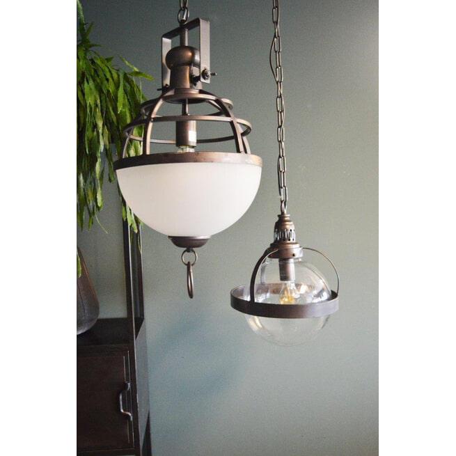 PTMD Hanglamp 'Gravis', Glas en Metaal, 42.5 x 30.2cm, kleur Zwart