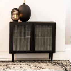 Light & Living Opbergkast 'Mocu' 85cm, glas+hout zwart