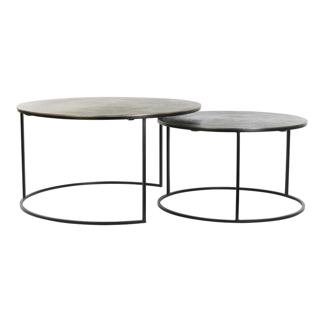 Light & Living Salontafel 'Primo' Set van 2 stuks, zwart-brons+mat zwart