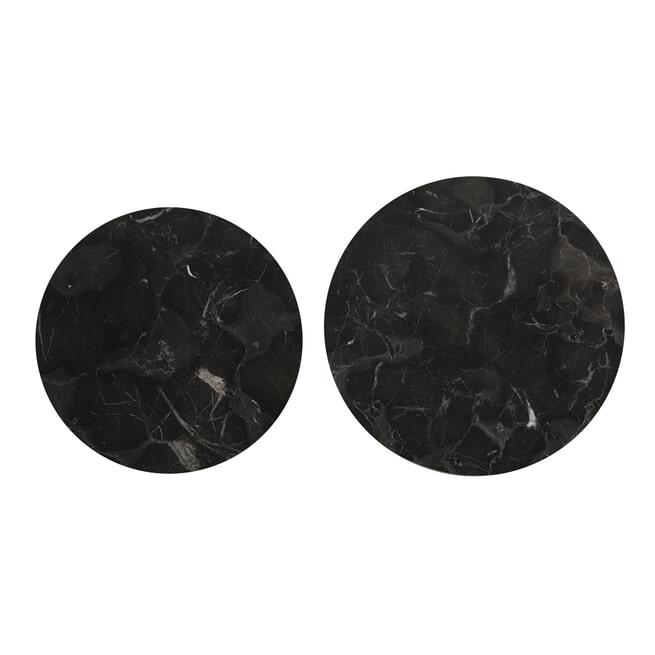 Light & Living Salontafel 'Alfio' Set van 2 stuks, bruin marmer+zwart