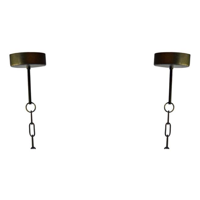 PTMD Hanglamp 'Beading', Hout en Metaal, 45 x 20 x 60cm, kleur Bruin