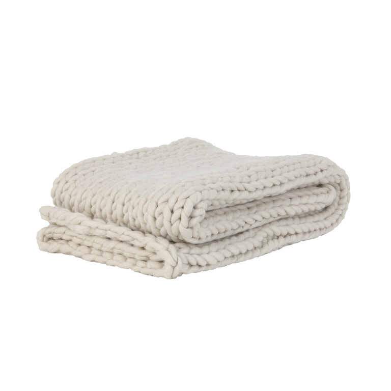 Light & Living Plaid 'Knitted', creme