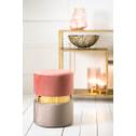 Light & Living Poef 'Jamee', velvet licht grijs-goud-oud roze