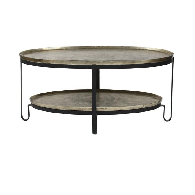 PTMD Ovale Salontafel 'Kae', 96,5 x 58,5cm, kleur Goud