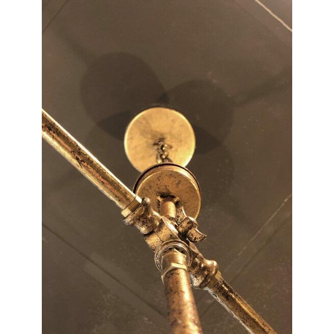 PTMD Hanglamp 'Steve', IJzer en Glas, 155 x 100 x 15cm,  4-lamps, kleur Goud