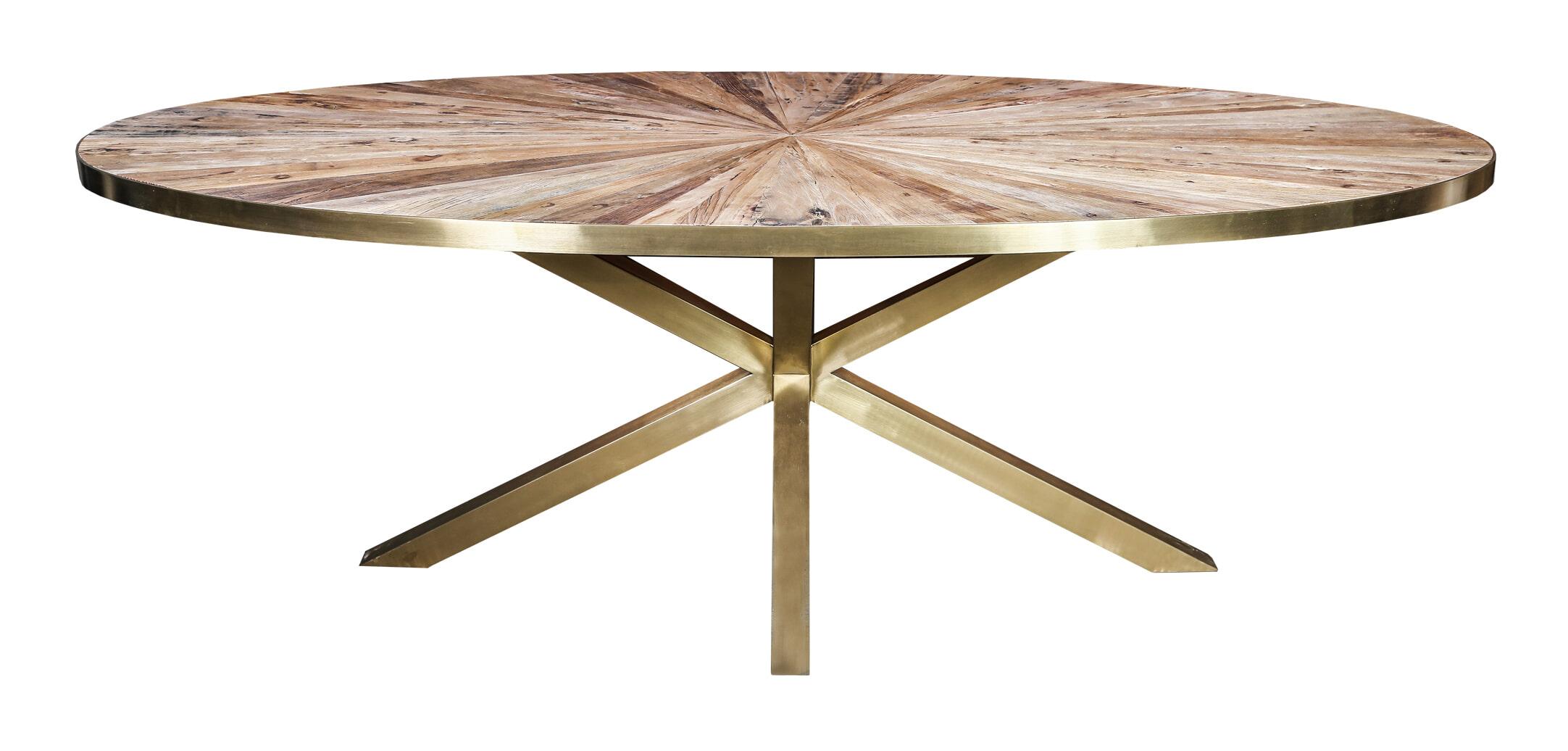 PTMD Ovale Eettafel 'Cleme' 220 x 110.5cm, kleur Goud
