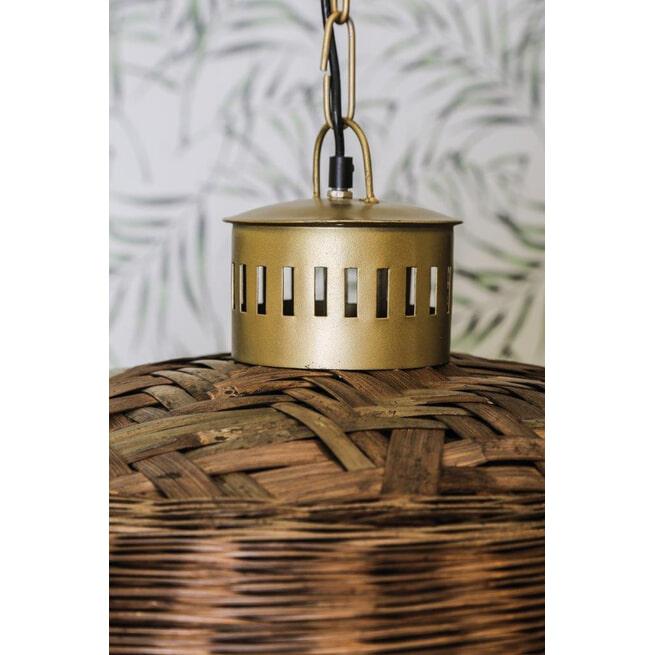 PTMD Plafondlamp 'Rayen', Riet, 63 x 35cm, kleur Bruin