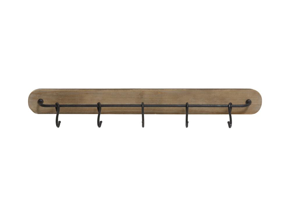 Light & Living Kapstok 'Paarl' 5 haaks, metaal zwart+hout