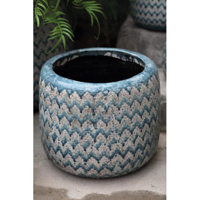PTMD Pot 'Jasper', Cement, 35,5 x 40cm, kleur Blauw
