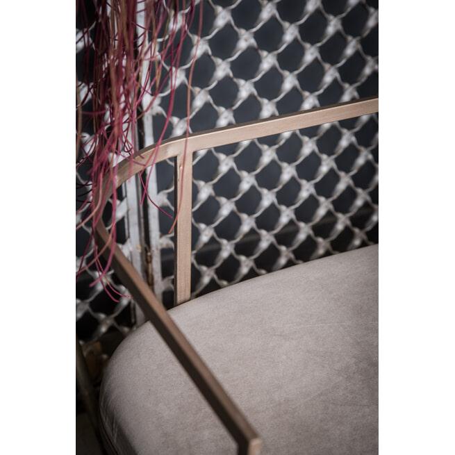 PTMD Halbankje 'Wire', IJzer en Velvet, 140 x 73 x 47cm, kleur Zilver