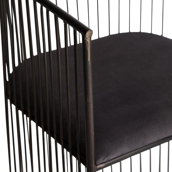 PTMD Eetkamerstoel 'Wire', Velvet en IJzer, 79 x 51.5 x 53cm, kleur Zwart