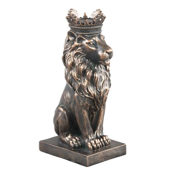 PTMD Beeld 'Lion', Polyresin, 25.5 x 10 x 15.5cm, kleur Brass