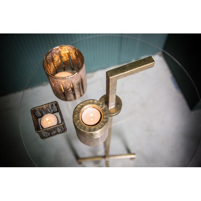 PTMD Bijzettafel 'Bryz', Metaal en Glas, 77 x 45 x 45cm, kleur Goud