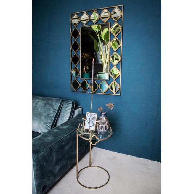 PTMD Bijzettafel 'Bryz', Metaal en Glas, 59.5 x 36 cx 36cm, kleur Goud