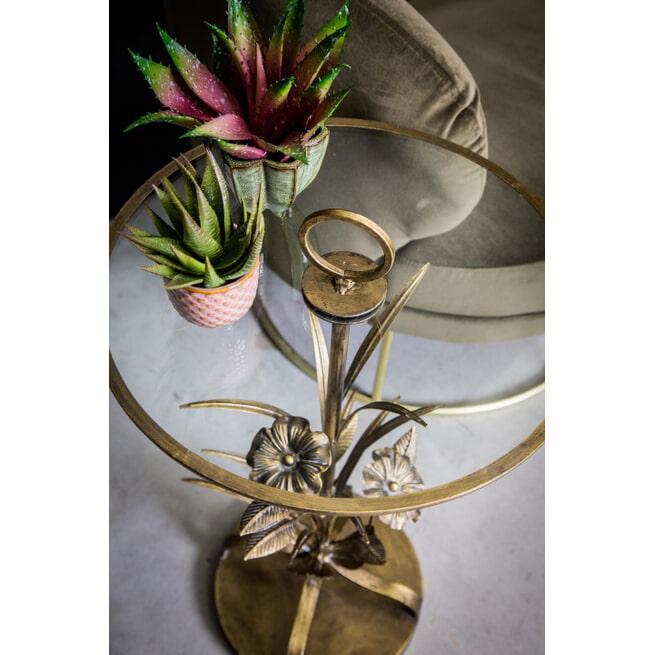 PTMD Bijzettafel 'Bryz', Metaal en Glas, 73.5 x 41 x 41cm, kleur Goud