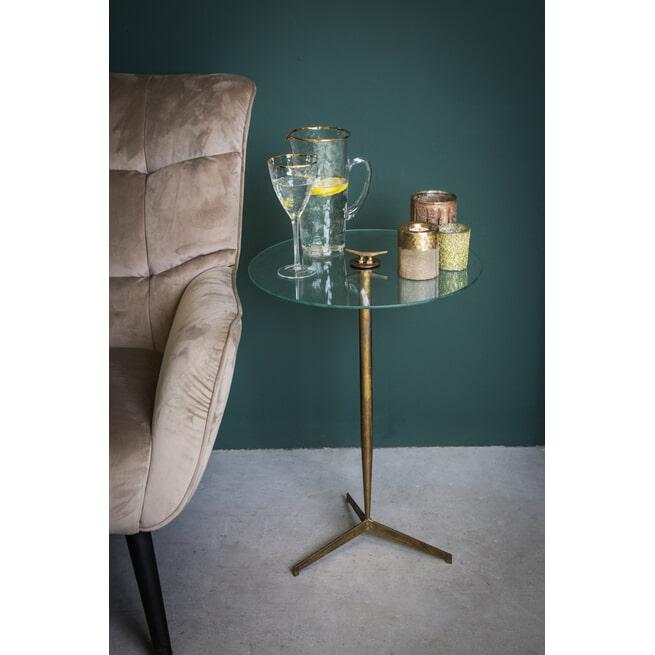 PTMD Bijzettafel 'Bryz', Metaal en Glas, 66 x 45 x 45cm, kleur Goud