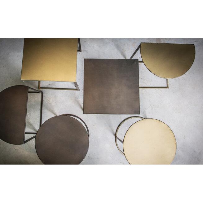 PTMD Bijzettafel 'Darron', Metaal, 41.5 30 x30cm, kleur Goud
