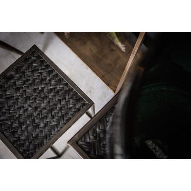 PTMD Bijzettafel 'Alex', Metaal en Rotan, 72 x 29 x 29cm, kleur Zwart