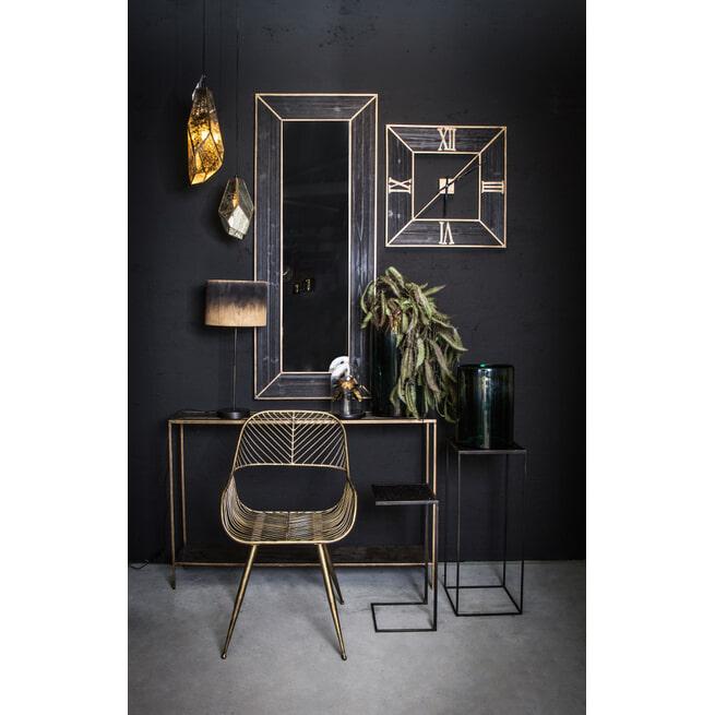 PTMD Bijzettafel 'Alex', Metaal en Rotan, 55 x 25 x 25cm, kleur Zwart