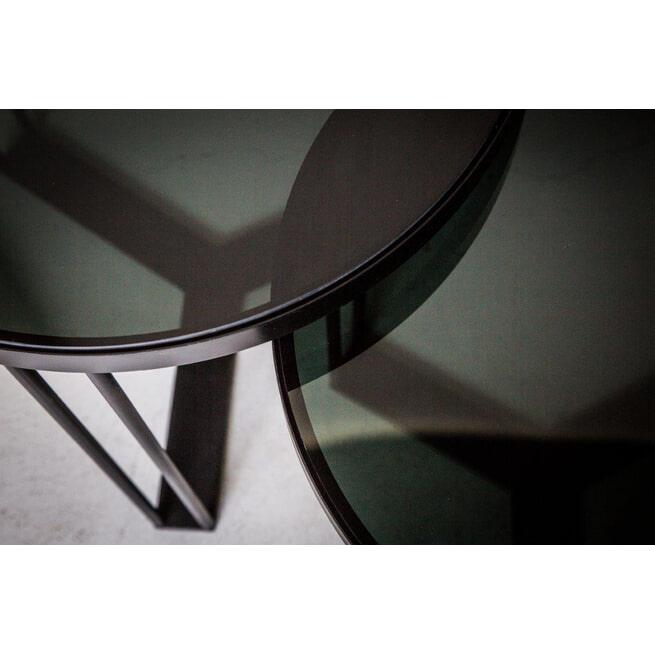PTMD Bijzettafel 'Maysa', Metaal en Glas, 45 x 40 x 40cm, set van 2, kleur Zwart