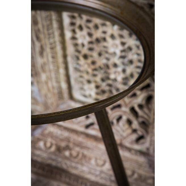 PTMD Bijzettafel 'Gavino', Metaal en Glas, 57 x 41cm, kleur Goud