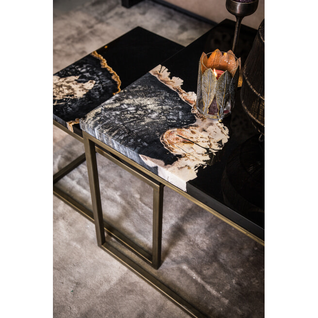 PTMD Bijzettafel 'Khine Petrified', Marmer en Metaal, 60 x 60 x 50cm, Set van 2, kleur Goud/Zwart
