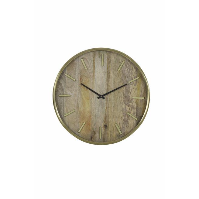 Light & Living Klok 'Timaru', hout+antiek brons