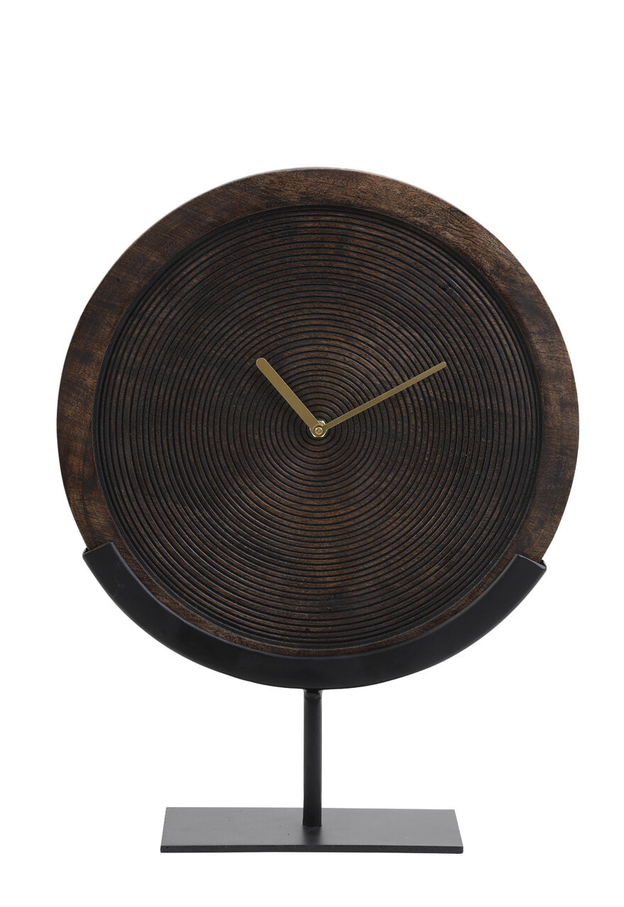 Light & Living Klok 'Kamudi' op voet, hout bruin-mat zwart