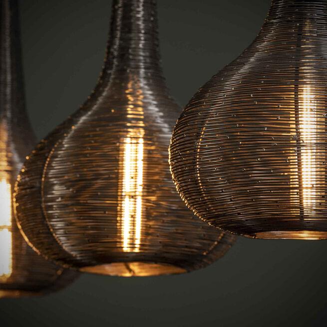 Hanglamp 'Derek' 3-lamps, kleur Antiek Nikkel