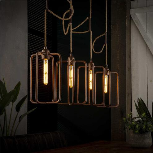 Hanglamp 'Ava' 4-lamps, met jute kabel