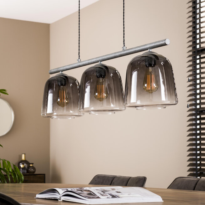 LifestyleFurn Hanglamp 'Grey Shaded' 3-lamps