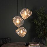 Hanglamp 'Sonia' Transparant, 3-lamps, kleur Transparant glas