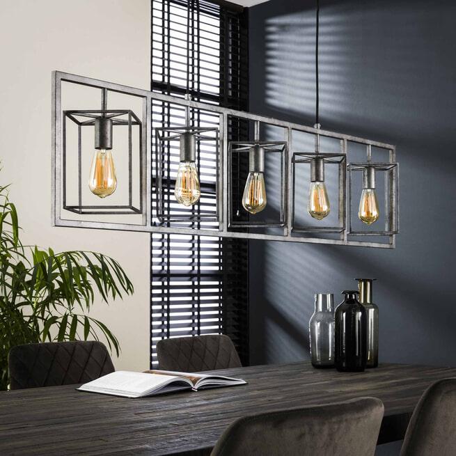 Hanglamp 'Damon' 5-lamps, kleur Oud Zilver