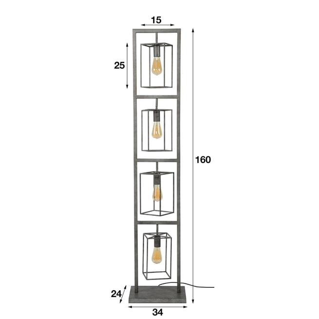 Vloerlamp 'Chevy' 4-lamps 160cm