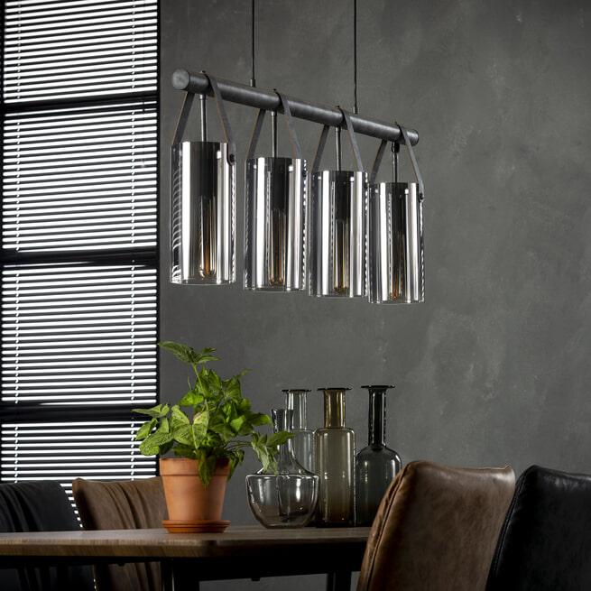 Industriële glazen Hanglamp 'Orson' 4-lamps
