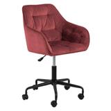 Bendt Bureaustoel 'Loren' Velvet, kleur Coral