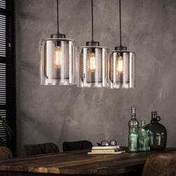 Hanglamp 'Lillian' 3-lamps, metaal met glas