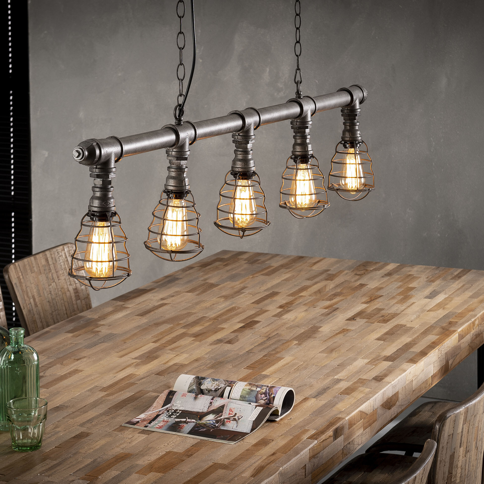 Industriële Hanglamp 'Jonah' 5-lamps