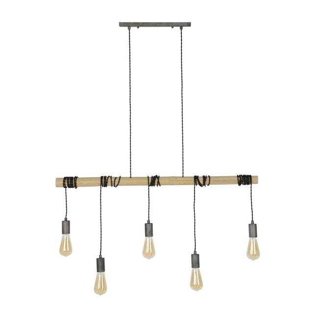 Hanglamp 'Stockard', Hout, 5-lamps, 98cm, kleur Oud Zilver