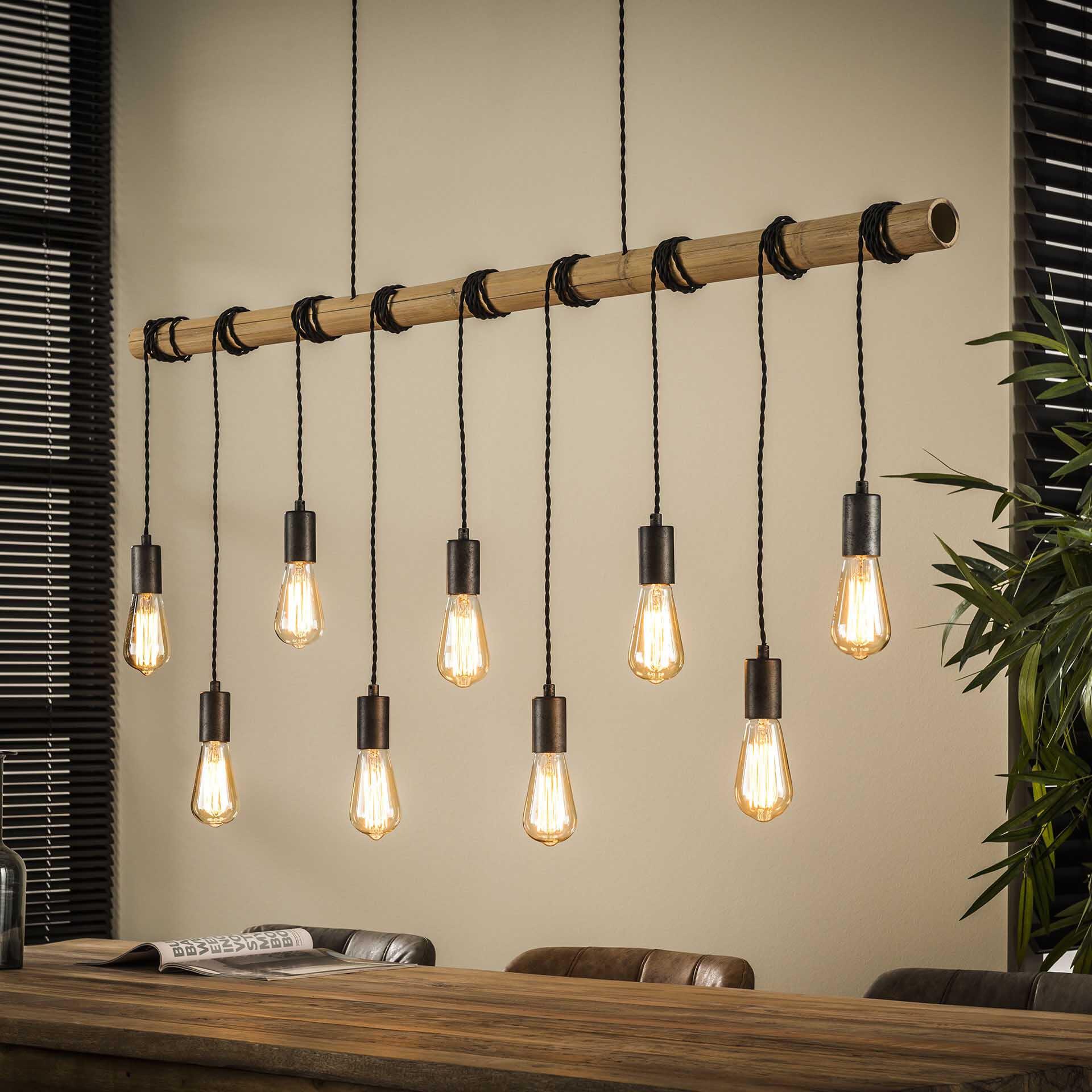 Hanglamp 'Bamboe' met 9 fittingen, 140cm