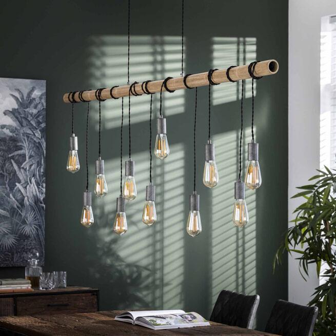 Hanglamp 'Bamboe' met 11 hangende fittingen, 180cm
