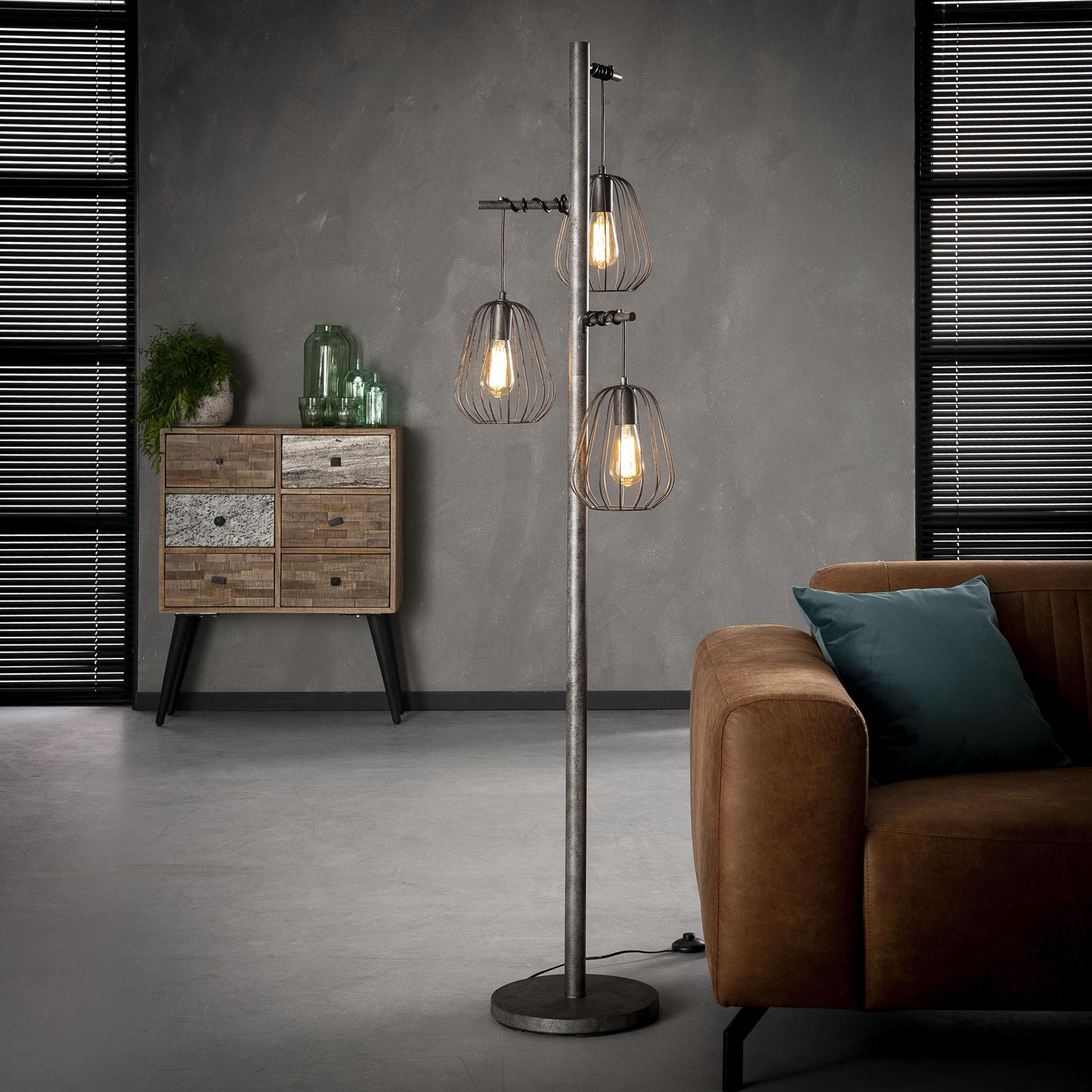 Vloerlamp 'Rupert' 3-lamps lampion, oud zilver