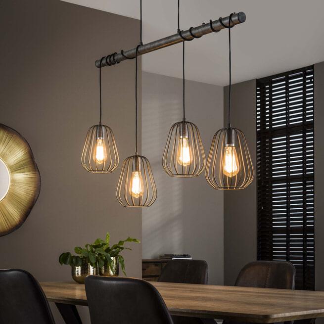 Hanglamp 'Rupert' lampion, 4-lamps Ø18cm